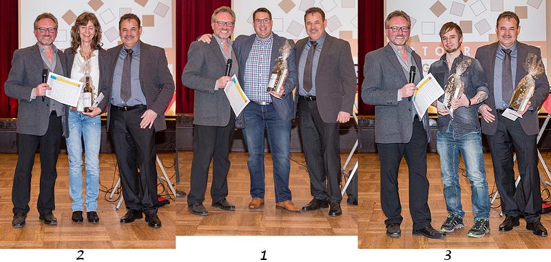 Hier stehen die Sieger auf dem 'Treppchen': 1 Florian Pötzl, 2 Christine Hilbrich, 3 Michael Müller.